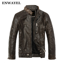 Wholesale lether jacket men - Wholesale-ENWAYEL Autumn Moto Vintage Mens Jackets Coat Motorcycle PU Male Leather Jacket Men Casual Stand Collar Slim Fit lether Brown