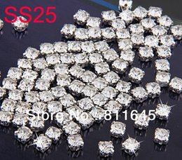 Wholesale Silver Color Beads Spacer - SS25 5mm 720pcs lot Silver Plating Crystal Color Rhinestone Beads, Sew On Rhinestone Spacer Beads for Garment Jewelry