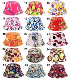 Wholesale Adult Bucket Hats - 27 Colors 2016 New Fashion Women Summer Bucket Sunhat Wide Brim Flower Printing Basin Canvas Topee Hats Sun Protection Beanie Caps
