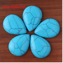 Wholesale Cabochon Lapis - 2016 Jewelry 23x32mm Fashion Natural Gem Stone Pear Shape Beads Cabochon Bead Jewelry Findings Accessories Diy Jewelry Making 20pcs