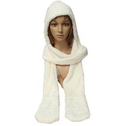 Wholesale Wholesale Wool Hats Gloves - Wholesale-10x Girl Wool Blend Hat 3 in 1 Hat   Scarf   Gloves Cute Warm