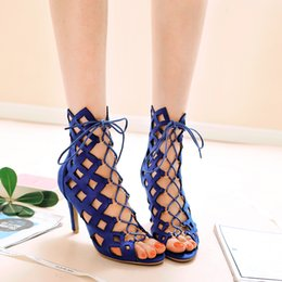 Wholesale Ladies Blue Suede Shoes - Summer fashion boots high-heeled sandals ladies' shoes hollow cross straps women shoes