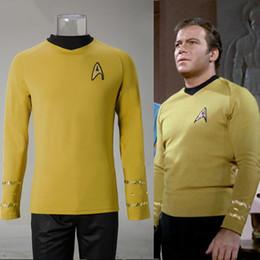Wholesale Star Trek Uniforms - Cosplay Star Trek TOS The Original Series Kirk Shirt Uniform Costume Halloween Yellow Costume