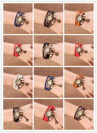 Wholesale Clover Shaped Watches - Womens Ladies Leather Wristwatches Vintage Clover Eiffel Tower Decoration Bracelet Watch Quartz Christmas Birthday Gift Free Shipping