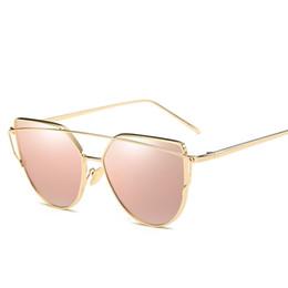 Wholesale Wholesale Cat Eye Frames - Cat eye Sunglasses 2017 New Brand Design Mirror Flat Rose Gold Vintage Cateye Fashion sun glasses lady Eyewear UV400