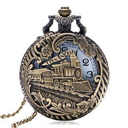 Wholesale Round Clock Necklace - Vintage Bronze Train Carved Steampunk Gears Skeleton Quartz Pocket Watch Pendant Men Clock Women Necklace Chain Gift