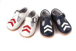 Wholesale Toddler Boys White Walking Shoes - New Toddler Little Kids Handmade Casual Shoes for Boys Genuine Leather Double Lines Design Buckle Anti-slip Anti-friction 0-5Y Walking Shoes
