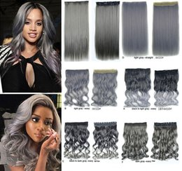 """Wholesale Silver Clip Hair Extensions - Cheap Ombre Silver Long Body Wave Gray Hair Weaving 18""""-24"""" 5 Clip in Hair Extension One Piece Synthetic Hairpiece Weft"""