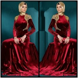 Wholesale Luxury Kaftan - Luxury Satin Appliques Lace High Neck A Line Long Sleeve Muslim Burgundy Evening Dresses Gowns 2017 Dubai Kaftan Robe De Soiree