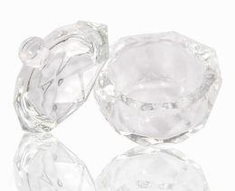 Uñas acrílicas online-Acrílico Cristal Dappen Dish Bowl Taza con tapa Líquido Glitter Powder Caviar Nail arte herramienta redonda