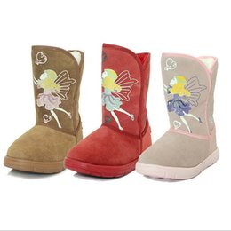 Wholesale Girls Brown Suede Boots - Retail Winter Great Quality Kids Leather Snow Boots Super Warm Children Shoes Suede Anti-slip Sole Girls Boots