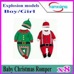 Wholesale Kids Costume Rompers - 8pcs 2016 Christmas Baby rompers Costume kids newborn clothes long sleeve spring children infant clothing set top+hat YX-HY-01