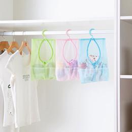 Wholesale Plastic Mesh Bags - Wholesale-2Pc Multi Purpose Hang Mesh Bag Clothes Storage Laundry Bags For Bathroom & travel 3 Colors