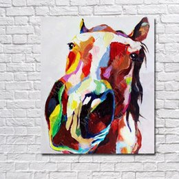 Wholesale High Quality Horse Oil Painting - Hand drawing running horse picture for living room wall decor high quality cartoon animal horse oil painting