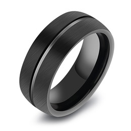Wholesale Ring Brushed - Fashion Black Men's 8mm Classic Flat-top Brushed Center Tungsten Steel Ring Grooved Wedding Engagement Band for Men Size 8-11