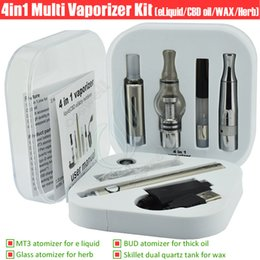 Wholesale E Liquid Atomizers - 4in1 Vaporizer kit Multi atomizer MT3 Quartz coil skillet glass CE3 wax dry herb thick BCD oil e liquid 4 in 1 herbal tank Vape Pen cigs DHL