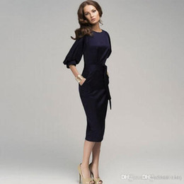 Wholesale Dressed For Work - Waist Chiffon Dress Weven Points lantern Sleeve Pencil Skirt Dark Blue ol Fashion Casual Dresses for Womens Woman Dresses for Office Work