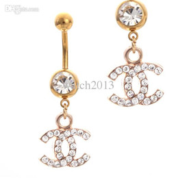 Wholesale New Arrivel Sex Brand Gold Belly Bars Trendy Dangle Belly Rings Navel Belly Piercing With Crystal Fashion Piercing