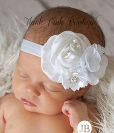Wholesale Red Flower Hair Shabby - 2016 Wholesale-Baby Hair Accessories New Satin Baby Headband Birdcage Veil Shabby Chic Flower Girl Headband Vintage Christening