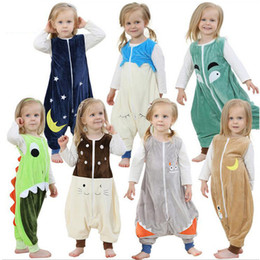 Wholesale Pajamas Sleepers Baby - Autumn Flannel Warm Sleeping Bag Kids Jumpsuit Prevent Kick Quilt Baby Cartoon Blanket Sleeper Children Footed One-Piece Pajamas