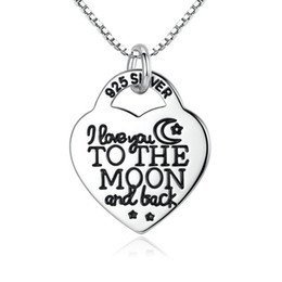 Wholesale Lock Pendant Necklace - Solid 925 Sterling Silver Pendant Necklace Heart Lock Lettering Necklace I Love You To The Moon And Back Luxury Fine Jewelry N007