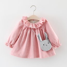 Wholesale Girls 3t Fall Clothes - Girls Ruffle Collar Corduroy Dresses Tops 2017 Fall Kids Boutique Clothing 1-4T Little Girls Long Sleeves Solid Color Dresses with Bag