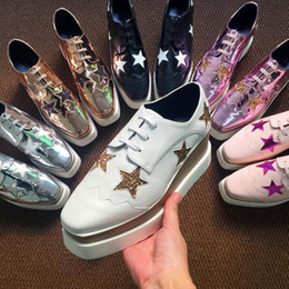 Wholesale Light Brown Wedges - Italian Brand Stella Elyse Women Oxford Shoes McCartney Stars Outsole Platform Sneakers Thick Bottom Flats Leather Wedges Shoes 31 Colors