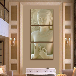 2017 панель фотографий 3 Panel Modern Buddha Painting Art Белый мраморный Будда Вертикальные формы Холст Печать Декоративная фигура Рисунок Современная картина Wall Art бюджет панель фотографий