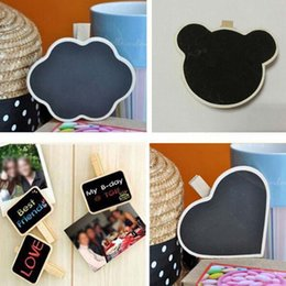 Wholesale Mini Chalkboard Shapes - 20pcs lot Wholesale Cute Shape Wooden Mini Chalkboard Small Wood Clip Blackboard Portable School Office Home Message Board