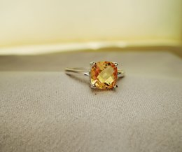 Wholesale Natural Citrine 925 Sterling Silver - Hot sale luxury ring 2ct high quality 100% natural citrine ring real 925 Solid Sterling Silver jewelry for lady wedding ring