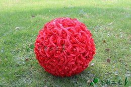 """Wholesale Large Red Rose Balls - 60 CM 23"""" Artificial Encryption Rose Silk Flower Kissing Balls Large Size For Christmas Ornaments Wedding Party Decorations 7 Color"""