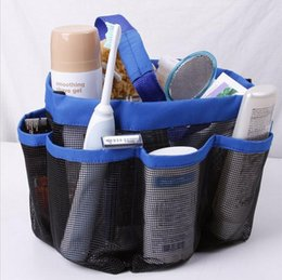 Wholesale Oxford Fabric Storage Box - Mesh 8 pocket shower caddy Oxford cloth storage box newest multifunctional Bath Caddy hand bath Storage Bags c230