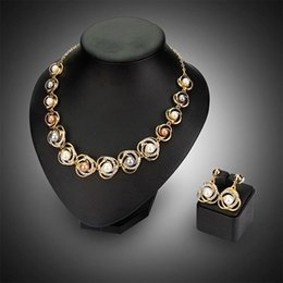Wholesale Clasp Balls Earring - Brand New Gold Color Pearl Rhinestone Pendant Necklace Earring Fashion Wedding Jewelry Set 1 Set Free Shipping [GE06577]