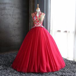 Настоящий красный павлин онлайн-100% реальное красное вино цветок павлина бисероплетение суд бальное платье Средневековый Ренессанс платье викторианской платье / принцесса Belle Бал