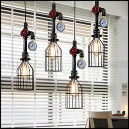 Wholesale country works - American Country Wrought Iron Chandelier Creative Personality Retro Bar Restaurant Steam pipe Chandelier Industrial Pipes LLWA134