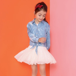 Wholesale Baby Polo Collars Wholesale - Baby Clothes Girls Shirts Blouse 2016 Autumn Fashion Casual Long Sleeve Lapel Polo Shirts Denim Jeans Kids Shirts Baby Clothing Wholesale 12