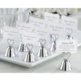 Wholesale Wedding Heart Place Card - DHL free shipping Fashion Heart Bell Place Card Holder Wedding favors table card holders wholesale wa4005
