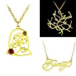 Yeni Kolye Çocuk Altın Kolye Kolye Belle Kristal Ve Rhinestone Kelime Gül Çiçek Takı Aksesuarları HH-N03 cheap gold pendants words nereden altın kolye kelimeler tedarikçiler