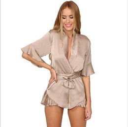 Wholesale Silk Women S Jumpsuits - New Woman Relax Loose Fit Deep V Neck 3 4 Sleeve Silk Ruffled Romper Satin Playsuit Casual Jumpsuits S-XL Tan Peach Black
