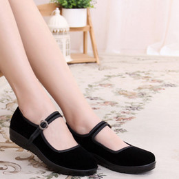 Wholesale Dancing Shoes For Women - freeshipping Authentic old Beijing cloth for women's shoes single flat shoes square dancing shoes black shoes