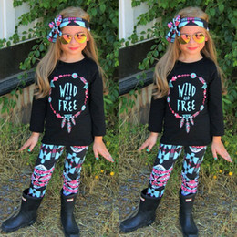 Wholesale Outfits For Toddler Girls - Girls Outfits Wild and Free Tee Shirt Top and Pants Set 3 piece for Toddler girls Clothing Set roupas infantis menina
