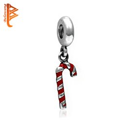 Wholesale Enamel Loose Beads - BELAWANG For Christmas Gift Sliver Plated Pendant Charm Beads Red Enamel Loose Beads Fit Original Charm Bracelets&Bangles Fashion Jewelry
