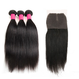 Wholesale 22 Inch Virgin Remy Hair - 7A Peruvian Indian Malaysian Brazilian Hair Bundles Unprocessed Remy Human Hair Weave With Closure Brazilian Straight Virgin Hair Extensions
