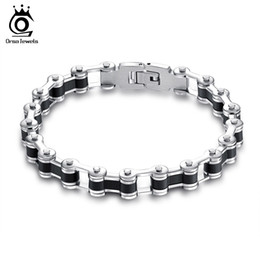 Wholesale Bicycle Link Bracelet - Orsa Jewelry Stylish Stainless Steel Bracelet Bicycle Chain Design With Silicone For Men Fashion Bracelet Wholesale GTB60