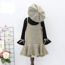Wholesale Set Children 3pcs Suits Skirt - Sweet 3pcs sets Fashion Children Clothes 2017 new kids boutique clothing shirt + braces skirt Dresses +Hat cap Girls Dress Suits A1082