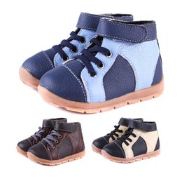 Wholesale Kids Boots Size 11 Boys - New Handmade Toddler Little Kids' Boots Patchwork Genuine Leather Thread Design Short Wool Linning Soft TPR Sole Anti-slip Cold-proof