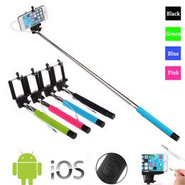 Wholesale Extendable Handheld - Z07-5S 5.4 -7.2 cm Extendable Handheld Selfie Stick With Remote Shutter Button 3.5mm Cable Wired Selfie Monopod For Android IOS