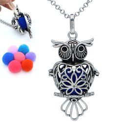 2019 jóias de algodão bolas Antique Silver Owl Oco Medalhão Pingente de Liberação Bolas De Algodão Aromaterapia Difusor de Óleo Essencial Cadeia Colar Encantos Jóias jóias de algodão bolas barato
