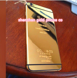 Wholesale Mirror Gold Iphone Housing - For iPhone 6 6 plus 24kt 24ct 24k mirror gold plated housing cover chassis middle frame replacement free shipping