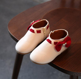 Wholesale Red Boots For Toddlers - Girls Boots Princess New Toddler Autumn Fashion Bowknot Children Snow Boots Zip Kids Shoes For Girls Sneakers PU